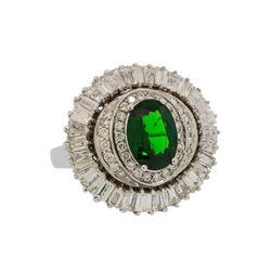 2.38 ctw Tsavorite and Diamond Ring - 14KT White Gold
