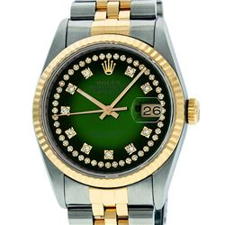 Rolex Mens 36mm Two Tone Yellow Gold Green Vignette String Diamond DateJust Wris