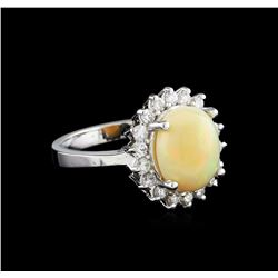 2.40 ctw Opal and Diamond Ring - 14KT White Gold