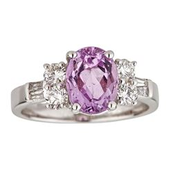 2.47 ctw Kunzite and Diamond Ring - 14KT White Gold