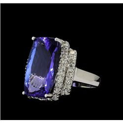 11.78 ctw Tanzanite and Diamond Ring - 14KT White Gold