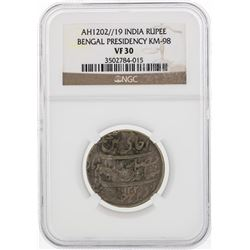 AH1202//19 India Rupee Bengal Presidency KM-98 Coin NGC VF30