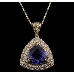 14KT Yellow Gold 6.47 ctw Tanzanite and Diamond Pendant With Chain