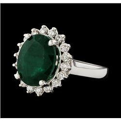 4.38 ctw Emerald and Diamond Ring - 14KT White Gold