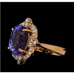 6.89 ctw Tanzanite and Diamond Ring - 14KT Rose Gold