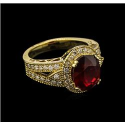 5.03 ctw Ruby and Diamond Ring - 14KT Yellow Gold