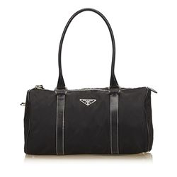 Prada Black Nylon Leather Barrel Shoulder Bag