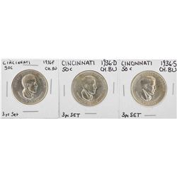 Set of (3) 1936-P/D/S Cincinnati Music Center Commemorative Half Dollar Coins