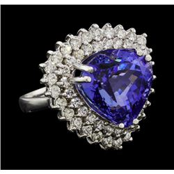 12.81 ctw Tanzanite and Diamond Ring - 14KT White Gold