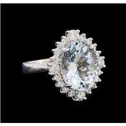 4.68 ctw Aquamarine and Diamond Ring - 14KT White Gold