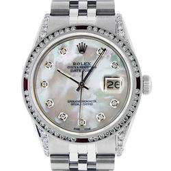 Rolex Mens Stainless Steel Diamond Lugs & Ruby Channel Set Datejust Wristwatch