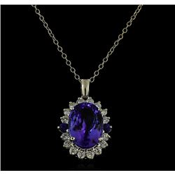 16.40 ctw Tanzanite, Sapphire, and Diamond Pendant With Chain - 14KT White Gold