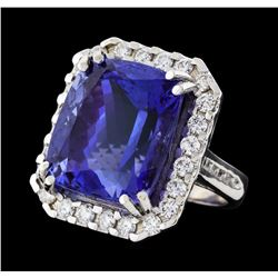 31.45 ctw Tanzanite and Diamond Ring - 14KT White Gold