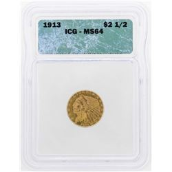 1913 $2 1/2 Indian Head Quarter Eagle Gold Coin ICG MS64