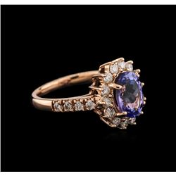 14KT Rose Gold 2.15 ctw Tanzanite and Diamond Ring