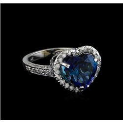 5.28 ctw Tanzanite and Diamond Ring - 14KT White Gold