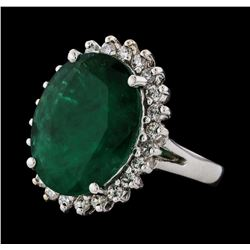 7.21 ctw Emerald and Diamond Ring - 14KT White Gold