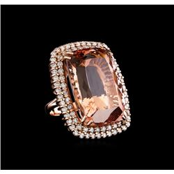 GIA Cert 60.22 ctw Morganite and Diamond Ring - 14KT Rose Gold