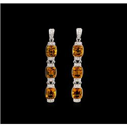 Crayola 15.60 ctw Citrine and White Sapphire Earrings - .925 Silver