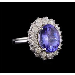5.70 ctw Tanzanite and Diamond Ring - 14KT White Gold
