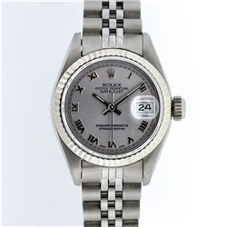 Rolex Stainless Steel Slate Grey Roman DateJust Ladies Watch