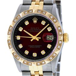 Rolex Mens Two Tone Red Vignette Diamond Pyramid Bezel Datejust