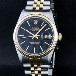 Rolex Two-Tone Black Tapestry Index Dial DateJust Men's Watch