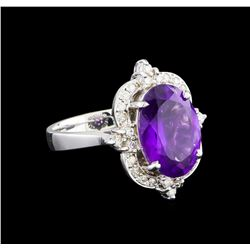 4.48 ctw Amethyst and Diamond Ring - 14KT White Gold