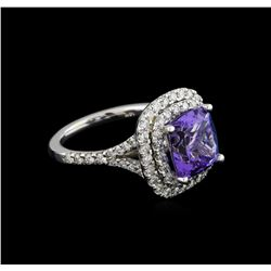 4.12 ctw Tanzanite and Diamond Pendant With Chain - 14KT White Gold