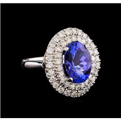 14KT White Gold 5.02 ctw Tanzanite and Diamond Ring