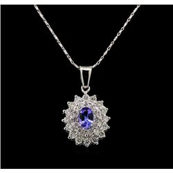 14KT White Gold 0.77 ctw Tanzanite and Diamond Pendant With Chain