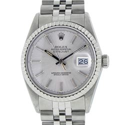 Rolex Mens Stainless Steel Silver Index DateJust Men's Wristwatch