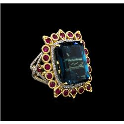 14KT Yellow Gold 29.87 ctw Topaz and Ruby Ring