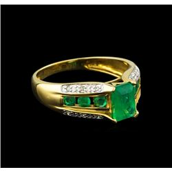 1.43 ctw Emerald and Diamond Ring - 14KT Yellow Gold