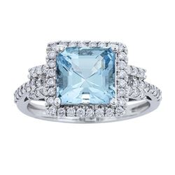2.15 ctw Aquamarine and Diamond Ring - 14KT White Gold