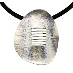 Matte Oval Pendant Leather Necklace - Rhodium Plated
