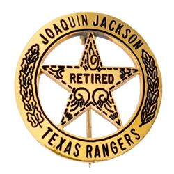 Joaquin Jackson's Gold Texas Ranger Retired Badge