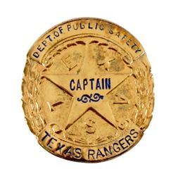 Gold Texas Ranger Captain's Badge