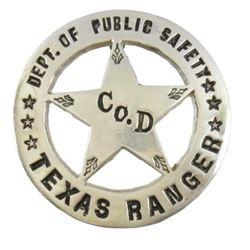 Texas Ranger Co. D Badge Marked Simmang
