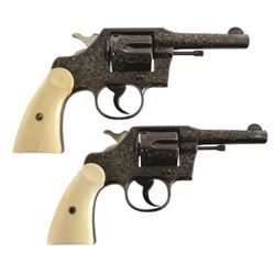 Pair Colt Police .38s Cole Agee Scroll Engraved