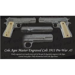 Cole Agee Master Engraved Colt 1911 Pre-War .45