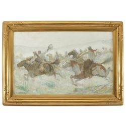 "Signed E.F. Ward ""The Race"" Oil Painting"