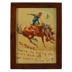 "Olaf Wieghorst ""Cowboy On Bucking Bronco"" Oil"