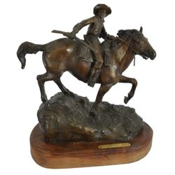 "R. Scriver ""1861 Mail Pony Express"" Signed Bronze"