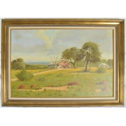 "Hugo Herbeck ""Fredericksburg Barn"" Oil Painting"
