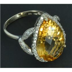 18kt White Gold Citrine & Diamond Ring