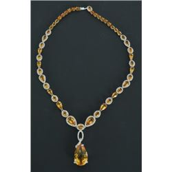 18kt White Gold Citrine & Diamond Necklace