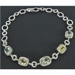 18kt White Gold Quart & Diamond Necklace
