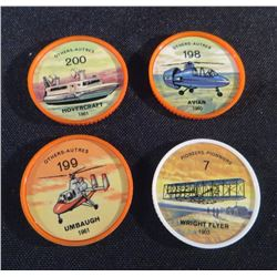 1960 Lot Of 4 Jello Picture Wheels Transportation