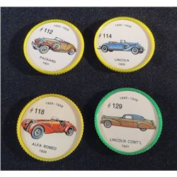 1960 Lot Of 4 Jello Picture Wheels Cars